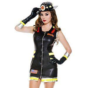 Wet Look Mini Dress Fire Girl Halloween Costume